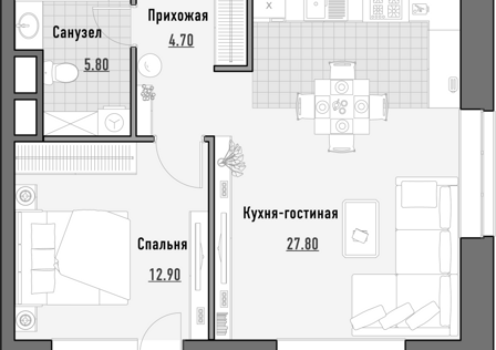 Продаётся 1-комнатная квартира, 51.65 м²