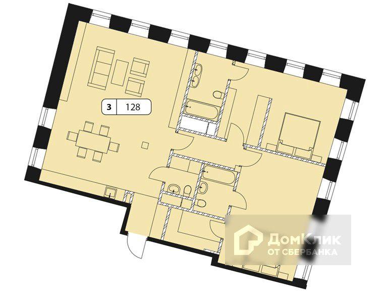 Продаётся 2-комнатная квартира, 125.5 м²