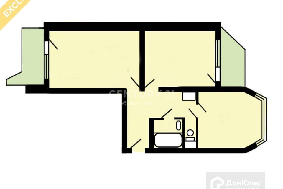 Продаётся 2-комнатная квартира, 60.1 м²